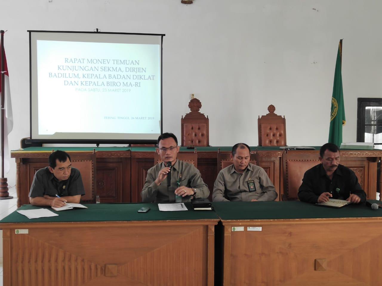Rapat Monev Temuan Kunjungan Sekma, Dirjen Badilum, Kepala Badan Diklat dan Kepala Biro MA-RI