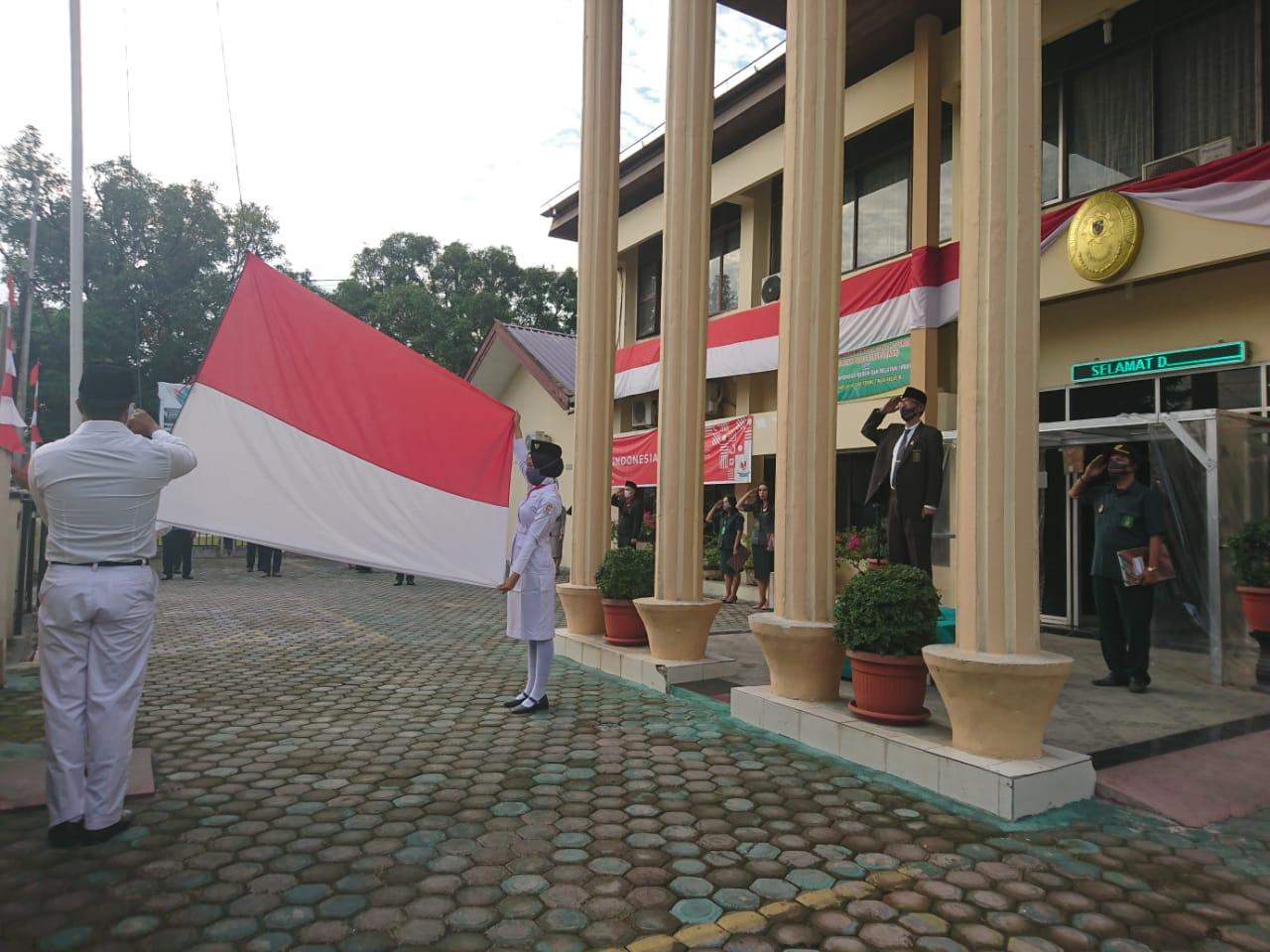 Upacara Peringatan Hari Kemerdekaan RI ke 75 di Pengadilan Negeri Tebing Tinggi