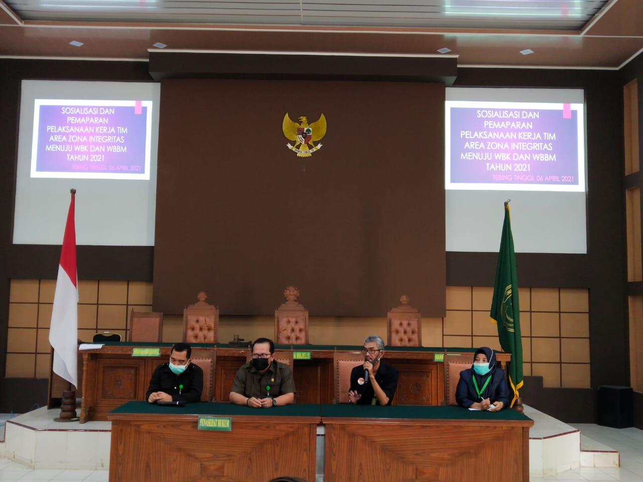 Sosialisasi dan Pemaparan Pelaksanaan Kerja Tim Area Zona Integritas menuju Wilayah Bebas Korupsi (WBK) dan Wilayah Birokrasi Bersih Melayani (WBBM) Tahun 2021